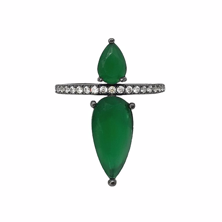Anel Gotas Cristal Verde Esmeralda com Zircônia no Banho de Ródio Negro