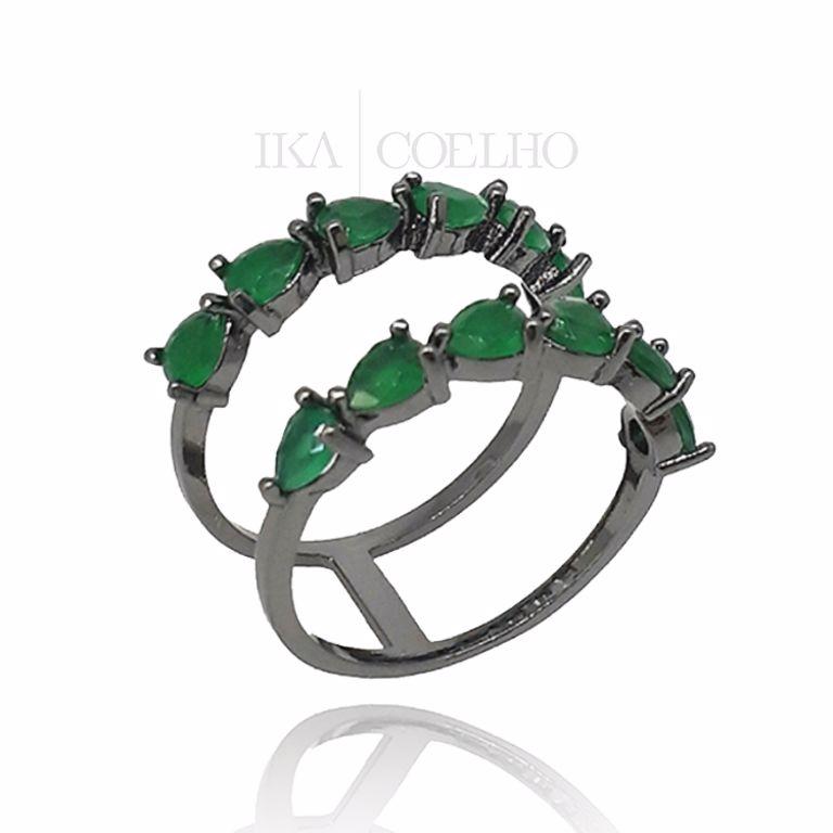 Anel Minimalista Duplo Gotas Cristais Verde Esmeralda no Banho de Ródio Negro Semijoia