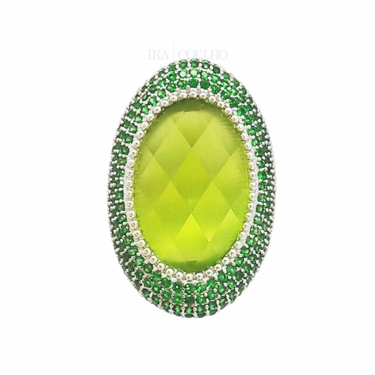 Anel Oval Cristal e Zircônia Verde no Banho de Ródio Branco Semijoia