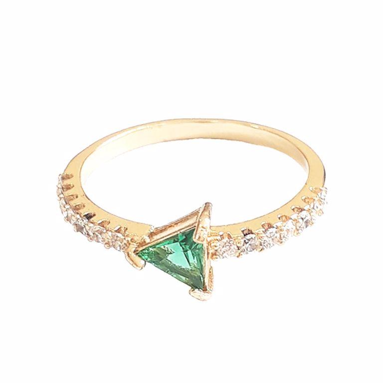 Anel Solitário Cristal Verde Esmeralda com Zircônia Branca no Banho de Ouro 18k Semijoia
