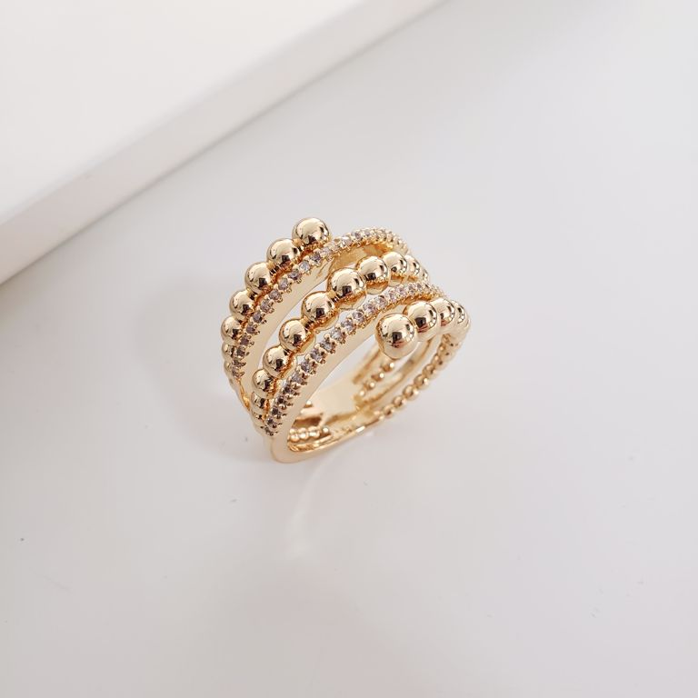 Anel Tipo Espiral Misto Pipoquinha com Zircônia Branca no Banho Ouro 18k Semijoia