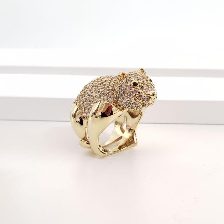Anel Urso Zircônia Banho de Ouro 18k Semijoia