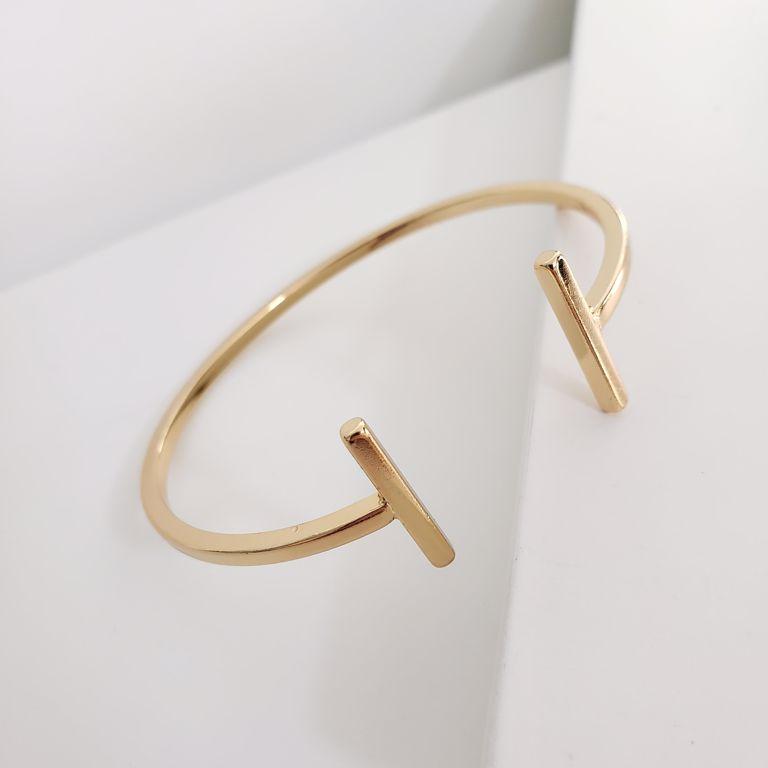 Bracelete Aberto Releitura Banho Ouro 18k Semijoia