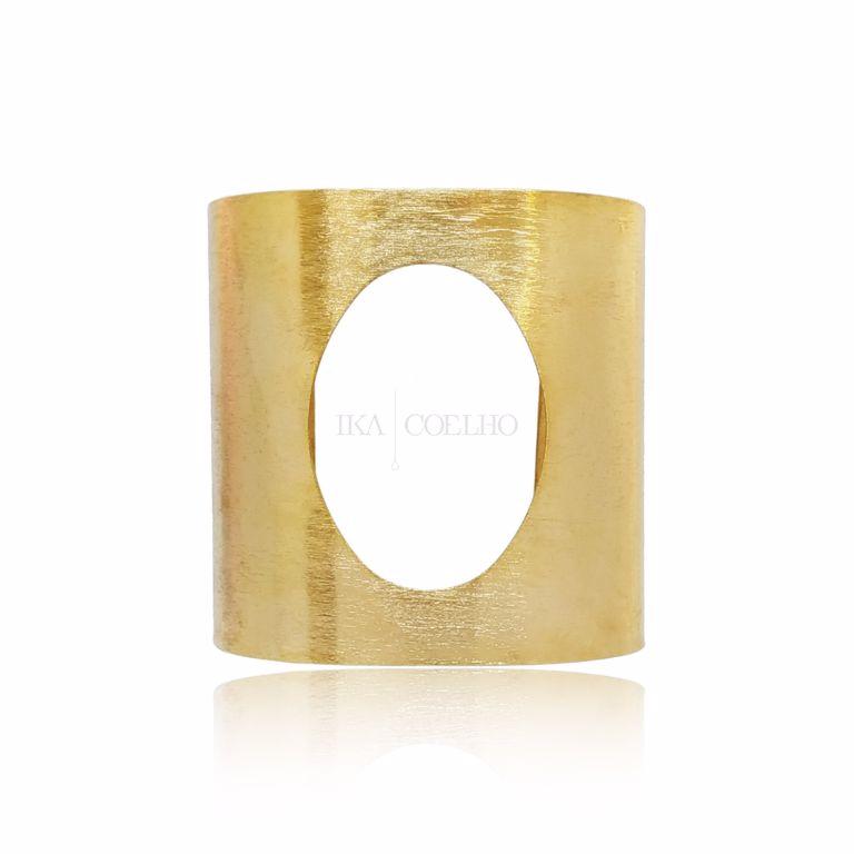 Bracelete Largo Escovado com Vazado Banho Ouro 18k Semijoia
