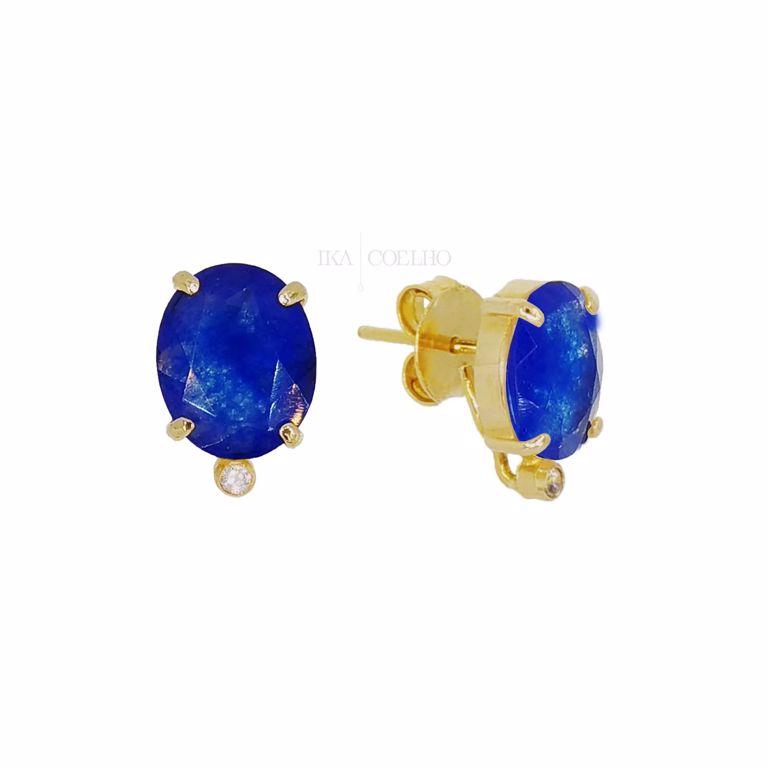 Brinco 2 em 1 Pedras Cristal Azul e Franja no Banho de Ouro 18k Escovado Semijoia