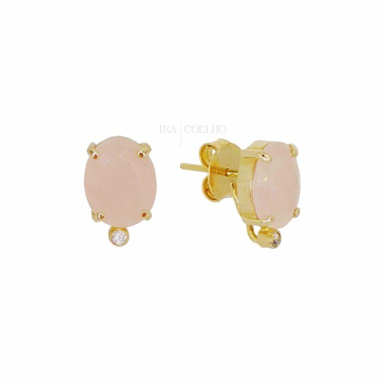Brinco 2 em 1 Pedras Cristal Rosa e Franja no Banho de Ouro 18k Escovado Semijoia