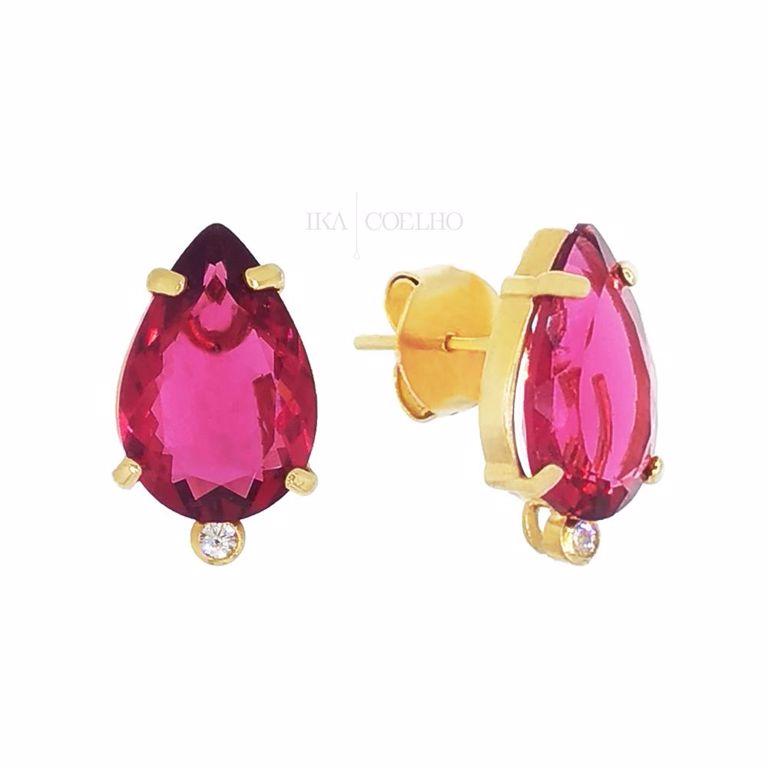 Brinco 2 em 1 Todo Cristal Rosa Fúcsia no Banho de Ouro 18k Semijoia