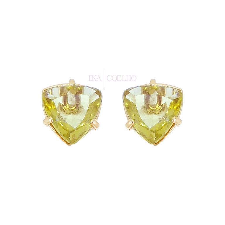 Brinco 3 em 1 Geométrico Cristal Peridoto Banho de Ouro 18k Semijoia