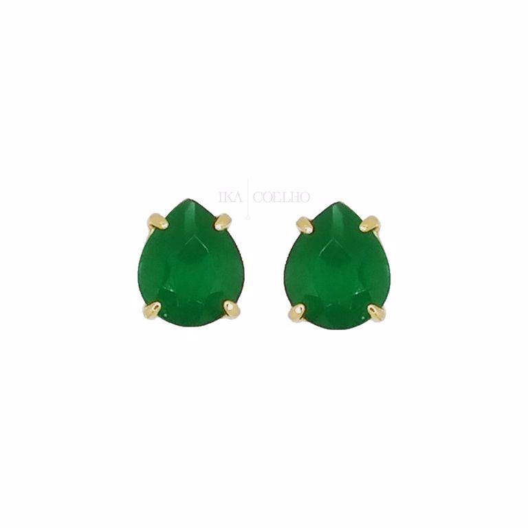 Brinco 3 em 1 Moderno Gota Jade Verde e Preto no Banho de Ouro 18k Semijoia