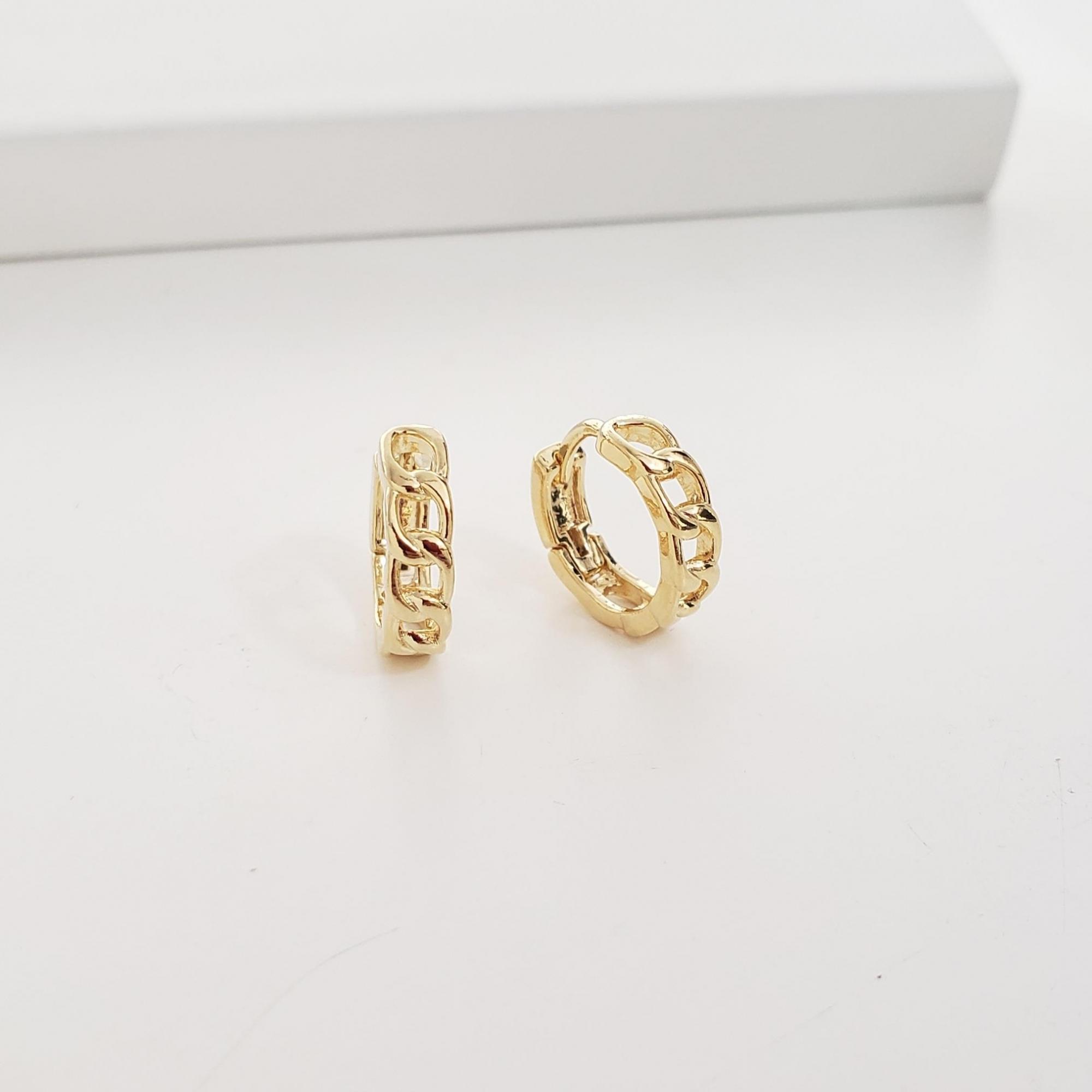 Brinco Argola 1,3cm Elos Cartier no Banho Ouro 18k Semijoia