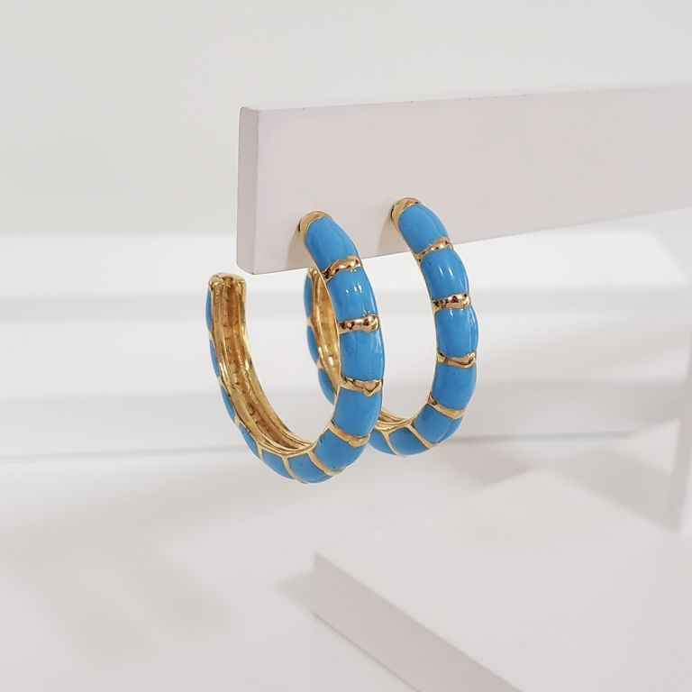 Brinco Argola 2,8cm Aberta Abaulada Esmaltada Azul Banho Ouro 18k Semijoia