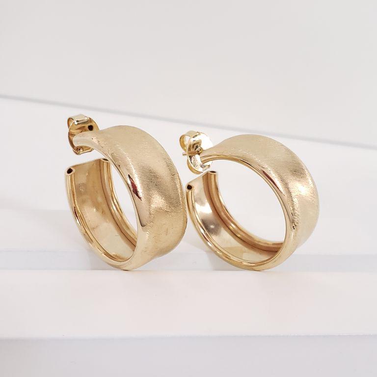Brinco Argola 2,8cm Aberta Larga Escovada Banho Ouro 18k Semijoia