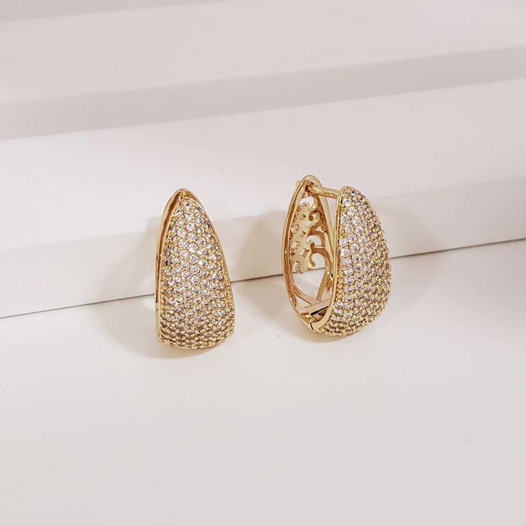 Brinco Argola 2cm Gota Abaulada com Zircônia no Banho Ouro 18k Semijoia