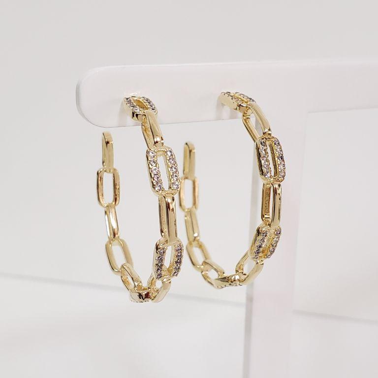 Brinco Argola 3,8cm Aberta Elos Cartier Intercalados com Zircônia Banho Ouro 18k Semijoia