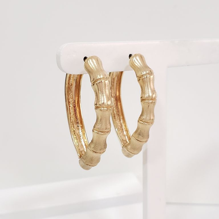 Brinco Argola 3,8cm Gota Ondulada Escovada Banho Ouro 18k Semijoia