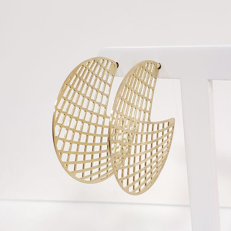 Brinco Argola 4,4cm Aberta Filigrana Banho Ouro 18k Semijoia