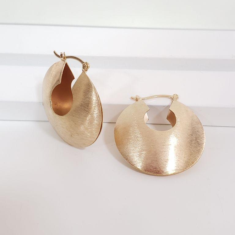 Brinco Argola 4cm Abaulada Escovada Banho Ouro 18k Semijoia