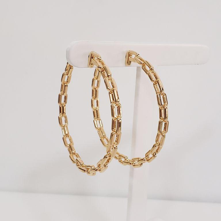 Brinco Argola 5cm Aberta Elos Cartier Banho Ouro 18k Semijoia