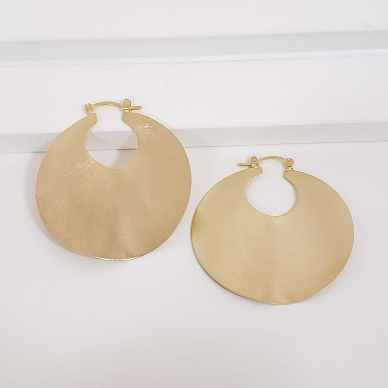 Brinco Argola 5cm Escovada Banho Ouro 18k Semijoia