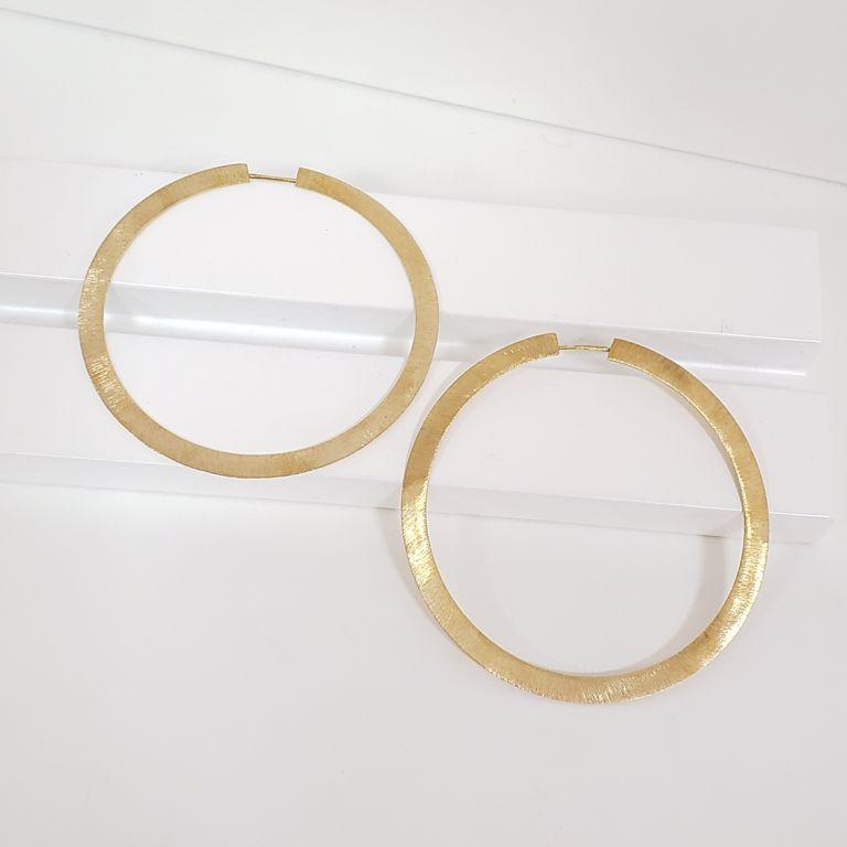 Brinco Argola 6cm Escovada Banho Ouro 18k Semijoia