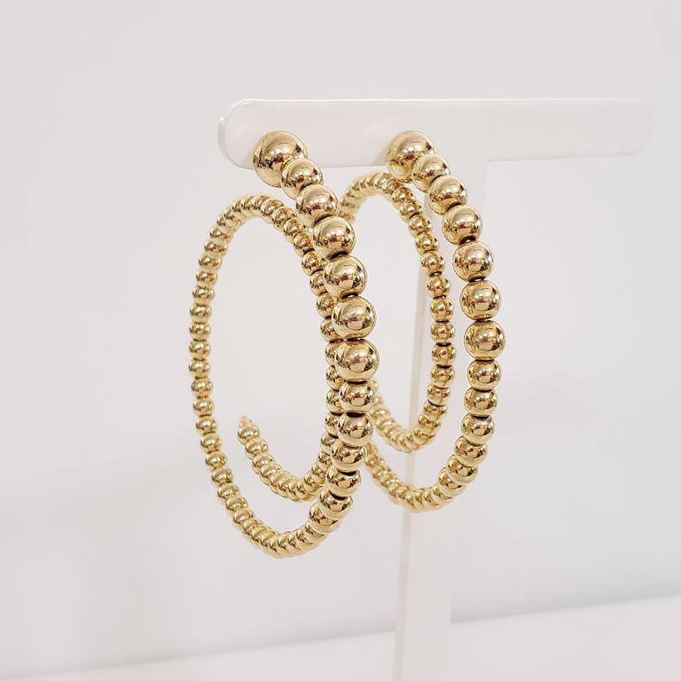 Brinco Argola 6cm Espiral Bolas Lisas no Banho de Ouro 18k Semijoia
