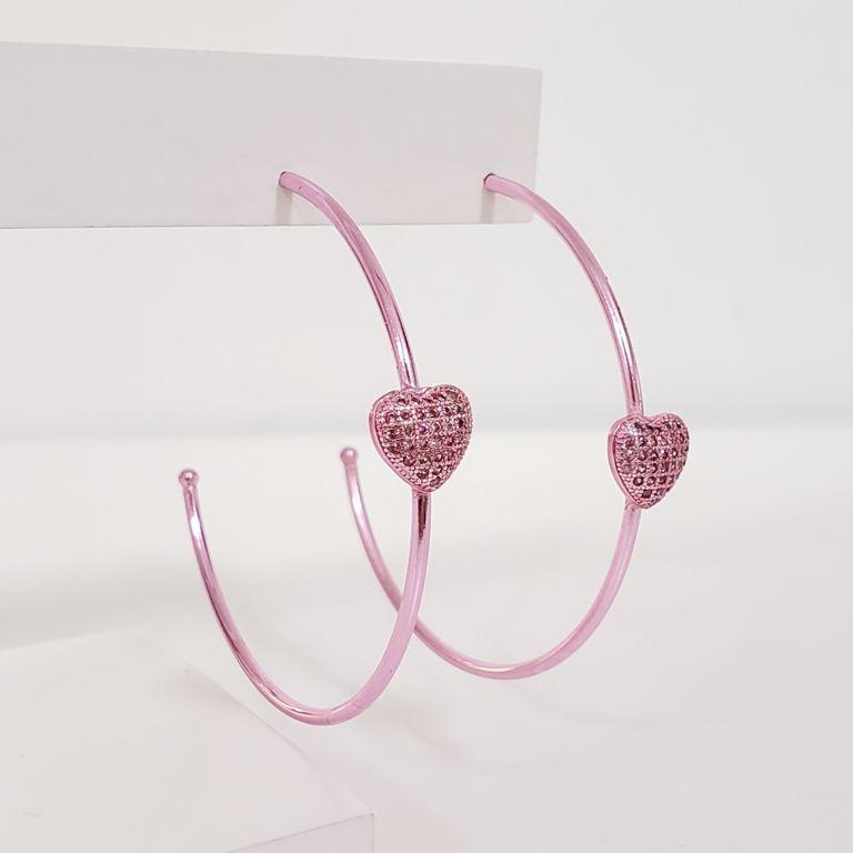 Brinco Argola Aberta 5cm com Coração Zircônia Banho Rosa Pink Semijoia