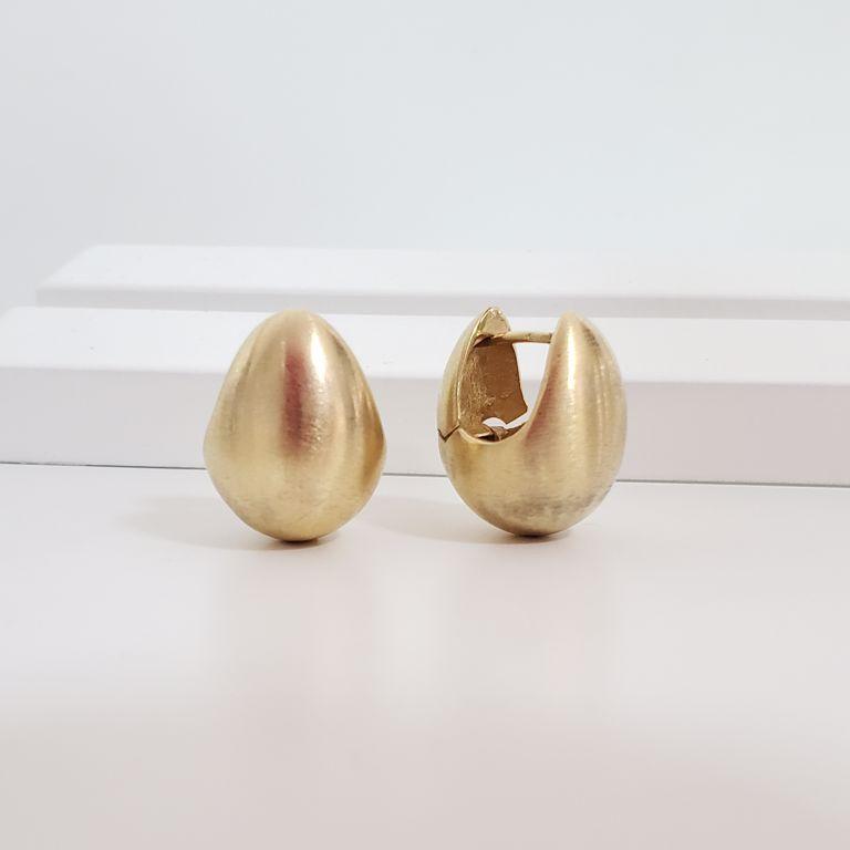 Brinco Argola Gota 2cm Gordinha Escovada Banho de Ouro 18k Semijoia