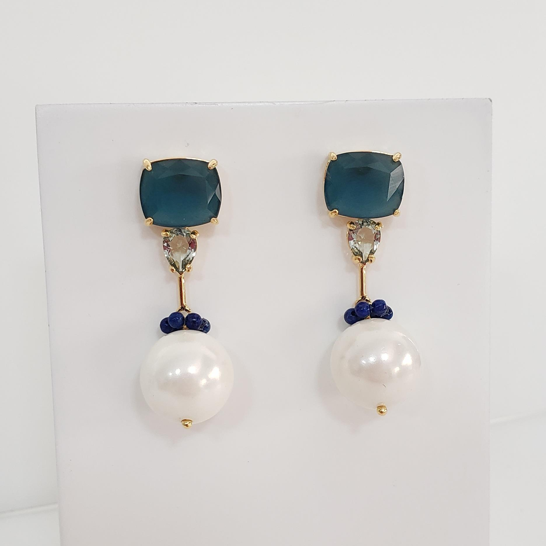 Brinco Base Cristal Azul, Coroinha Lapis Lazulli e Pérola no Banho Ouro 18k Semi Joia