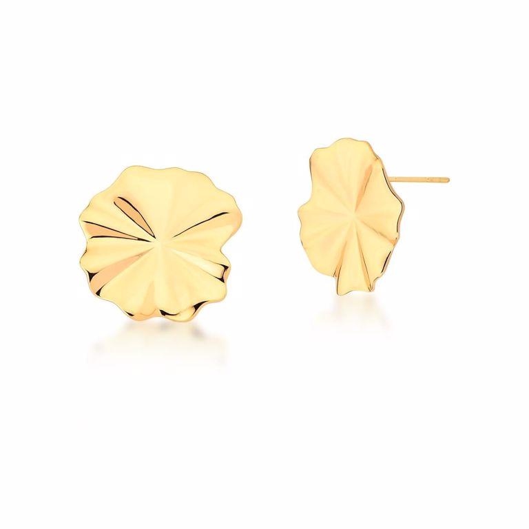 Brinco Botão Flor Lisa no Banho Ouro 18k Semijoia