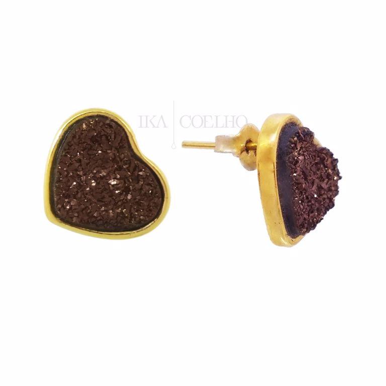 Brinco Coração Drusa Chocolate Banho Ouro 18k Semi Joia
