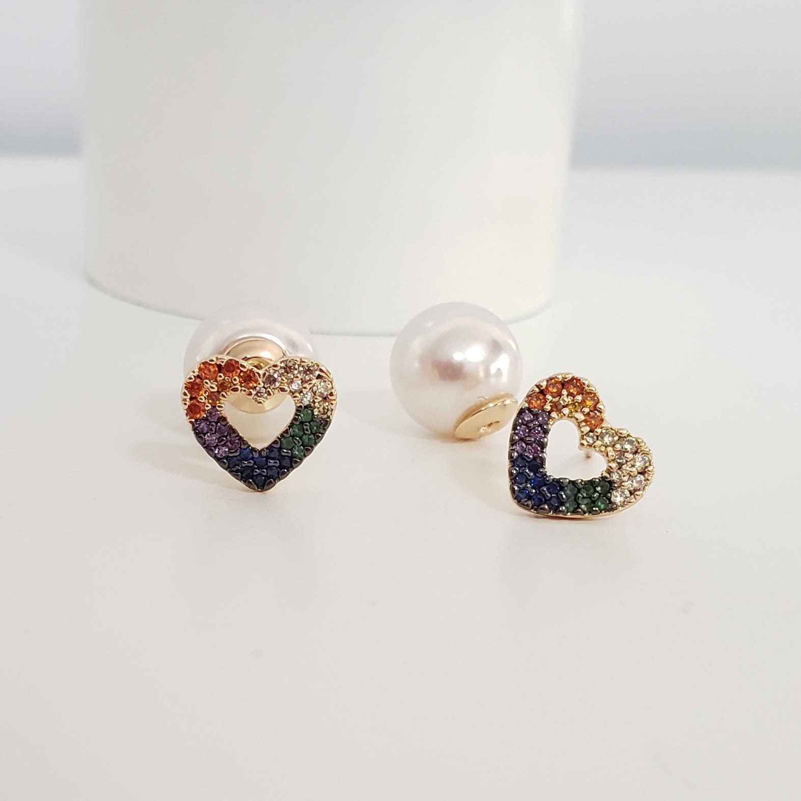 Brinco Dior Coração Zircônia Colorida e Pérola no Banho Ouro 18k Semijoia