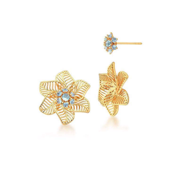 Brinco Dois em Um Botão Flor Filigrana com Miolo Removível Cristal Azul no Banho Ouro 18k Semijoia