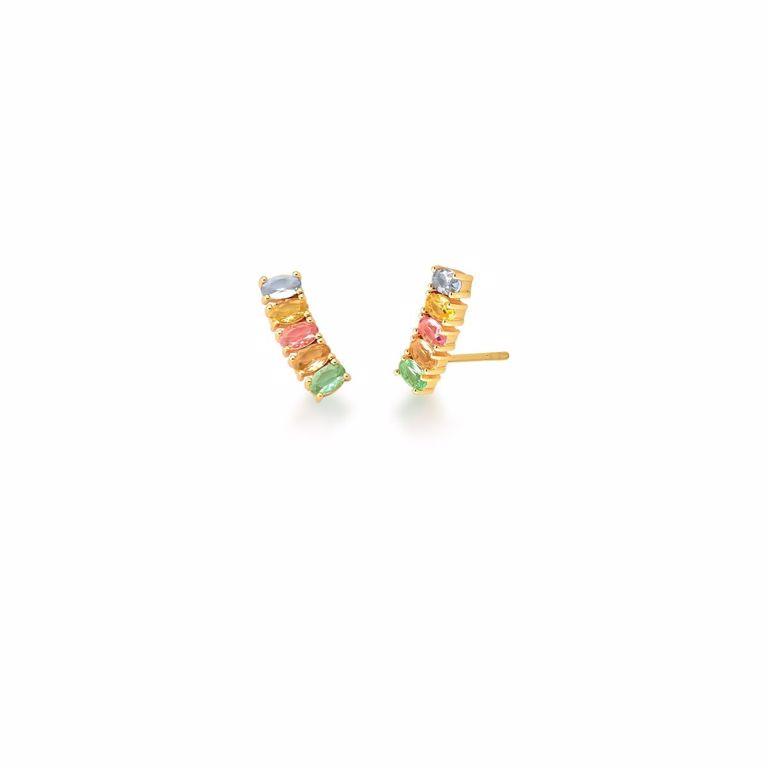 Brinco Ear Cuff Baguete Zircônia Color Candy Banho de Ouro 18k Semijoia