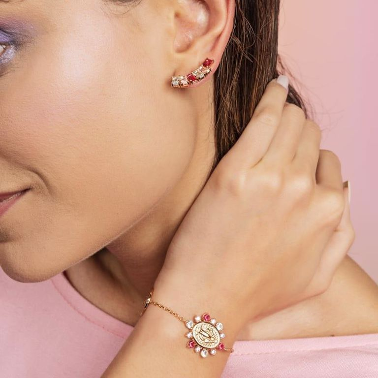 Brinco Ear Cuff Baguete Zircônia Colorida Banho de Ouro 18k Semijoia