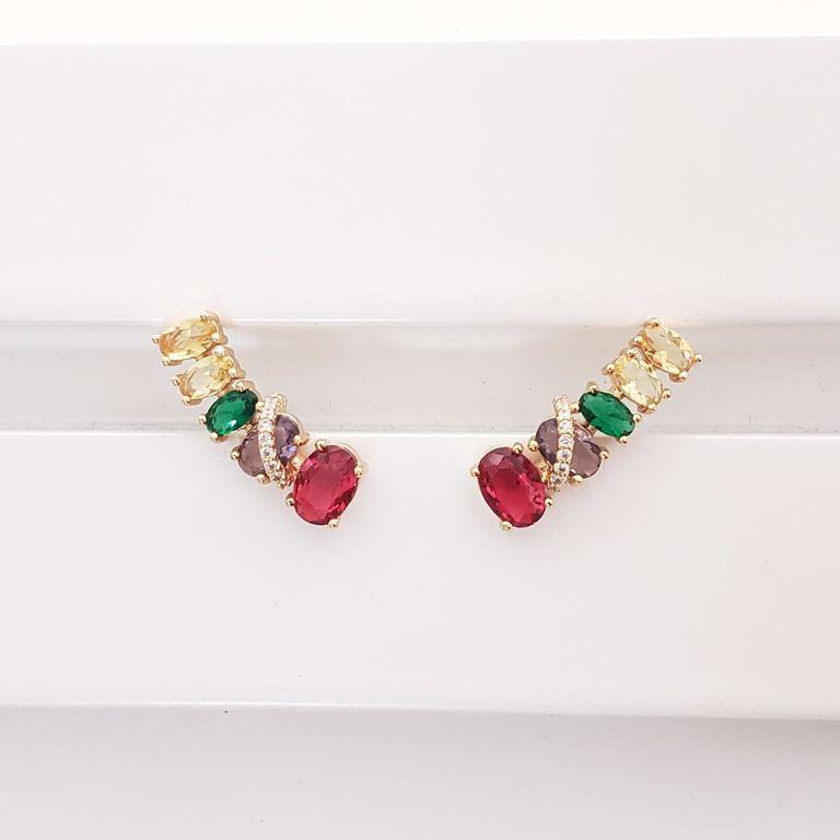 Brinco Ear Cuff Ovais Cristal Colorido com Zircônia no Banho Ouro 18k Semijoia
