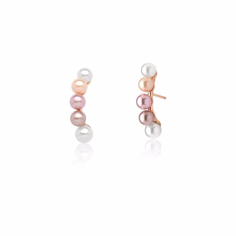Brinco Ear Hook Mix Pérolas Banho de Ouro Rosê Semijoia