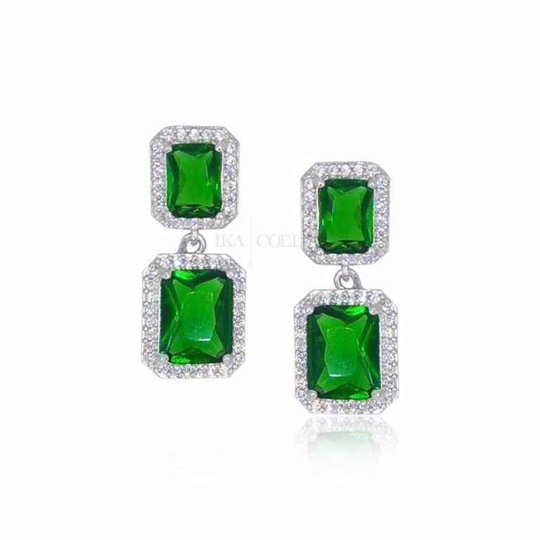 Brinco Festa Pequeno Cristal Verde e Zirconia Banho Ródio Branco SemiJoia