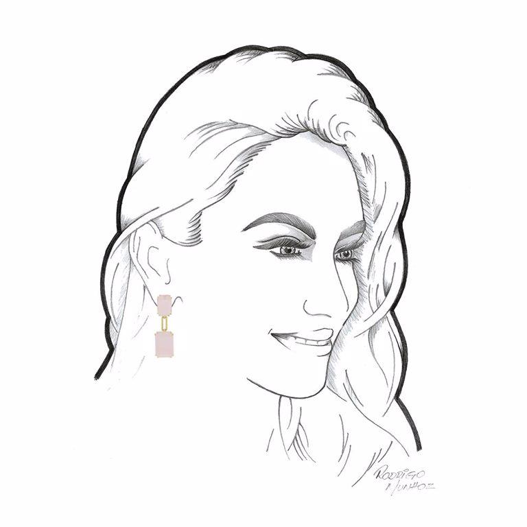 Brinco Festa Retangular Cristal Rosa Banho de Ouro 18k Semijoia