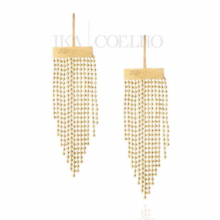 Brinco Filete com Franja Bolinha Diamantada no Banho de Ouro 18k Semi Joia