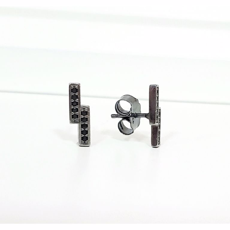 Brinco Filete Duplo com Zircônia Preta Minimalista no Banho de Ródio Negro Semijoia