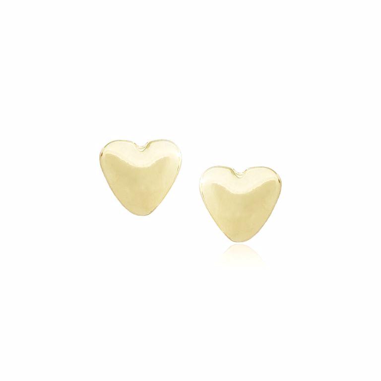 Brinco Pequeno Coração Liso Banho de Ouro 18k Semi Joia