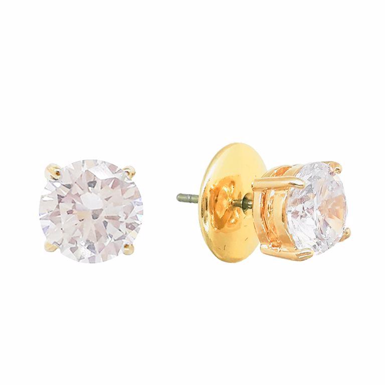 Brinco Ponto de Luz Pequeno com Cristal no Banho de Ouro 18k Semijoia