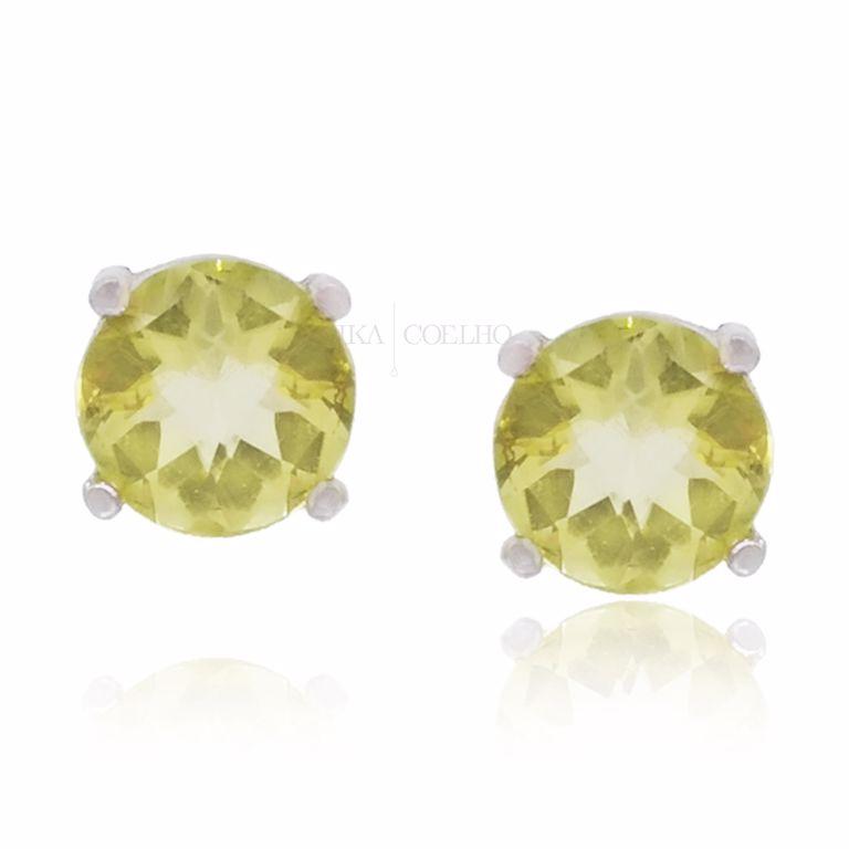 Brinco Prata 925 Ponto de Luz Pequeno Cristal Amarelo Claro