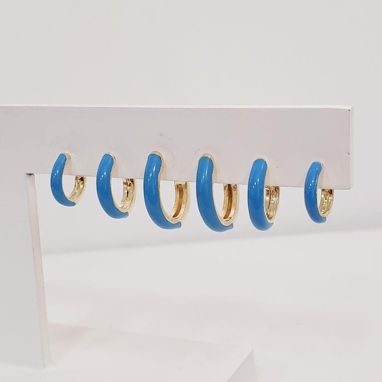 Brinco Trio Argolinhas Esmaltado Azul Banho Ouro 18k Semijoia