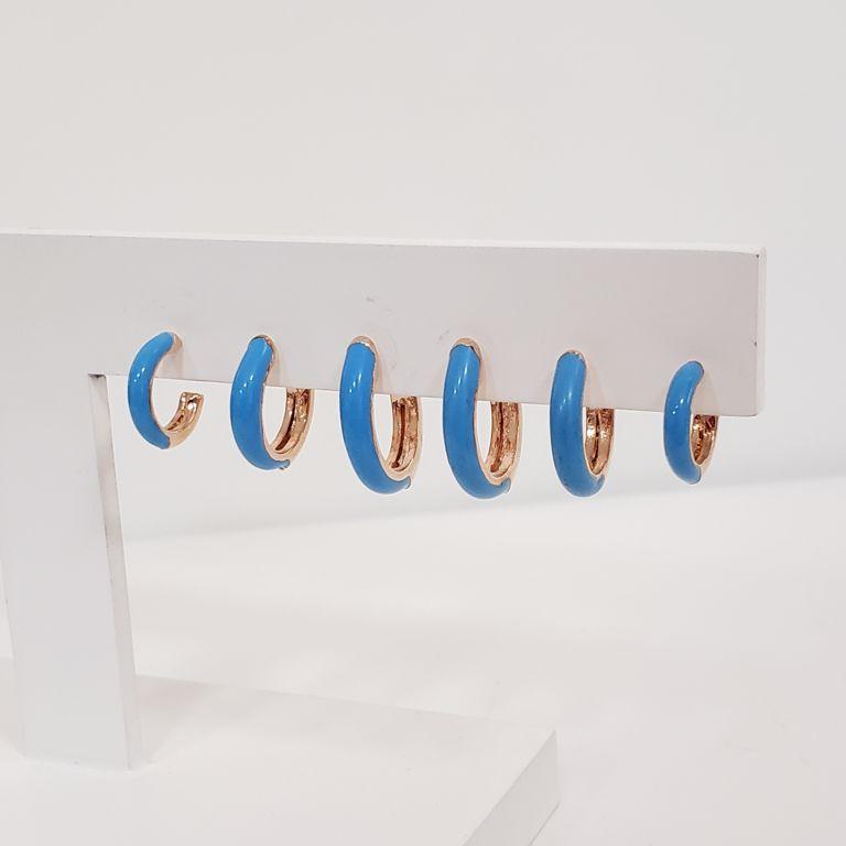 Brinco Trio Argolinhas Esmaltado Azul Banho Ouro Rosê Semijoia