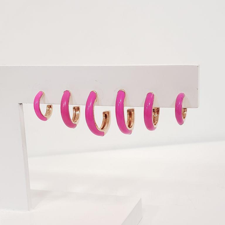 Brinco Trio Argolinhas Esmaltado Rosa Pink Banho Ouro Rosê Semijoia