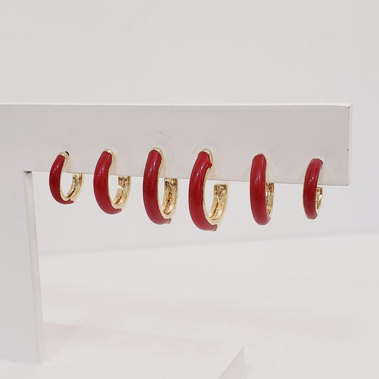 Brinco Trio Argolinhas Esmaltado Vermelho Banho Ouro 18k Semijoia