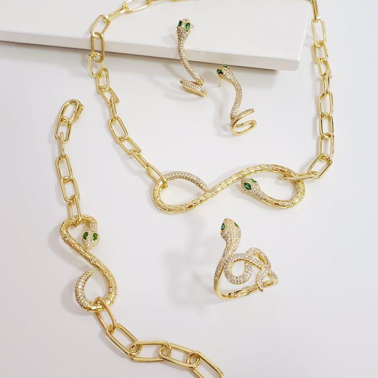 Cojunto Completo Cobra Elo Cartier com Cobra Zircônia Banho Ouro 18k Semijoia