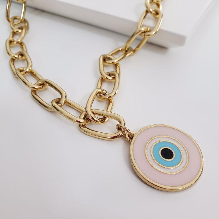 Colar Curto Elo Cartier Médio com Olho Grego Esmaltado Rosa Banho Ouro 18k Semijoia