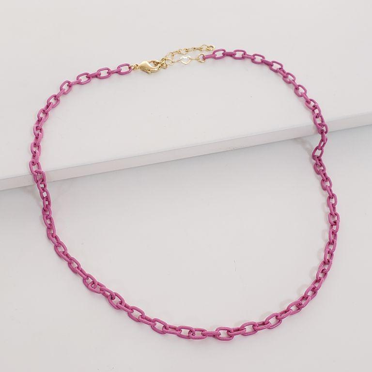 Colar Curto Elos Cartier Banho Rosa Pink Semijoia